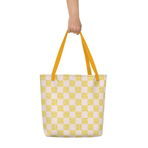 Sunny Yellow Floral Checkerboard Beach Bag