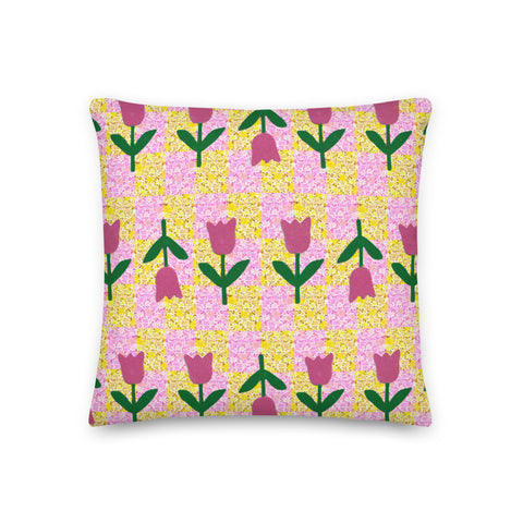 Tulip Checkerboard Throw Pillow (various sizes)