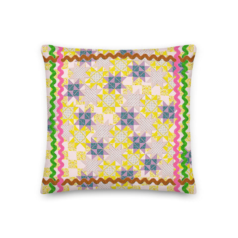 Patchwork Quilt Stars Throw Pillow (various sizes)