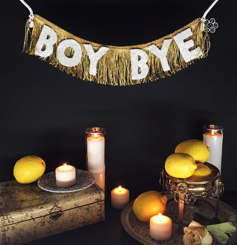 Boy Bye Glittering Fringe Banner by FUN CULT