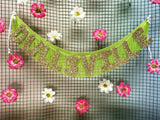 Dullsville lime green and gold glitter fringe banner by FUN CULT