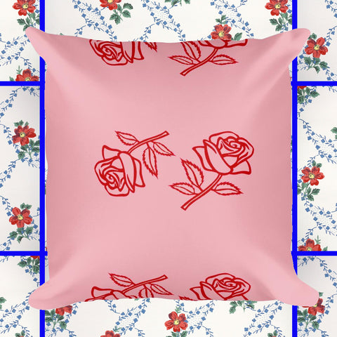 red rose print pillow by fun cult pink and red