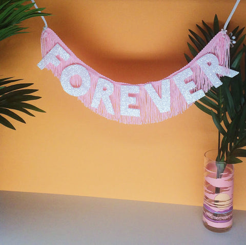 Forever Glittering Fringe Banner by FUN CULT