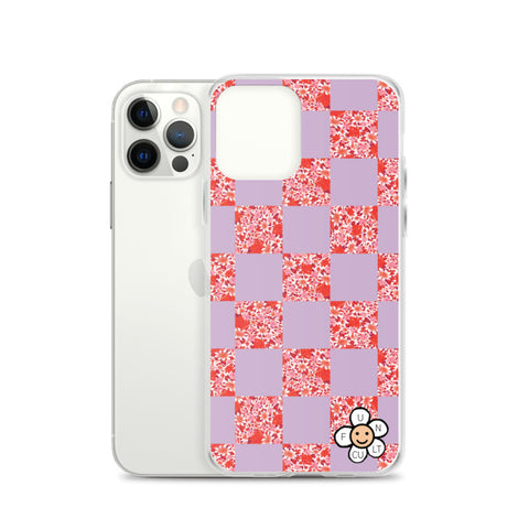 Floral checkerboard iPhone Case (muted lilac w/ red floral)