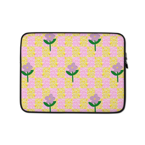 Daisy Check Laptop Sleeve - 13 inch or 15 inch laptop sleeve