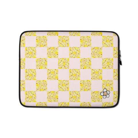 Floral Check Laptop Sleeve - 13 inch or 15 inch laptop sleeve