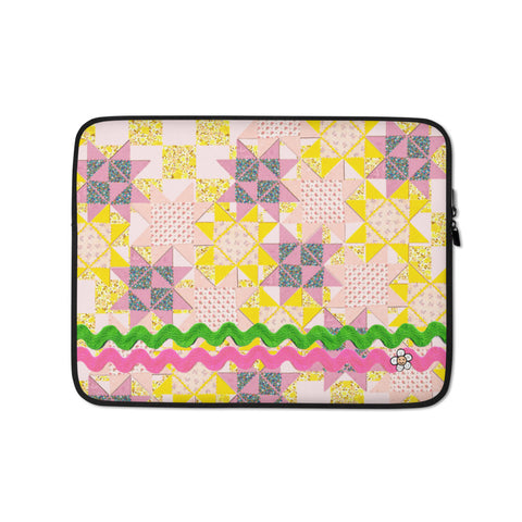 Patchwork Quilt Stars Laptop Sleeve -13 inch or 15 inch laptop sleeve