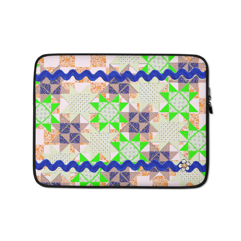 Neon Green Patchwork Quilt Stars Laptop Sleeve -13 inch or 15 inch laptop sleeve