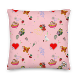 Favorites Print (pink) 22x22 Throw Pillow