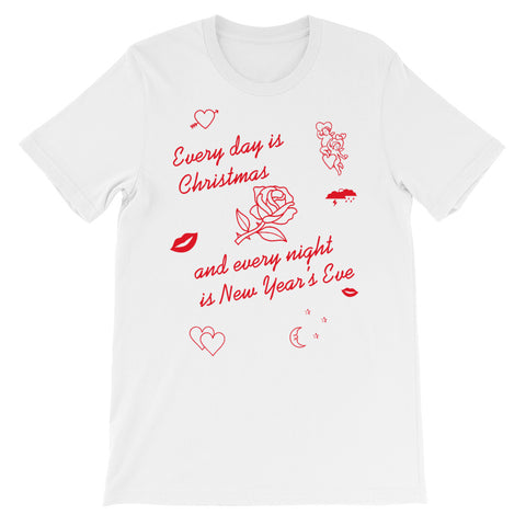 sade inspired red and white t-shirt drawing by fun cult