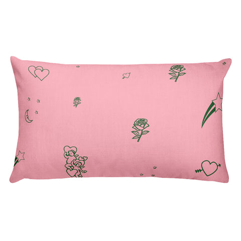 Cosmic Love Throw Pillow (pink and green)