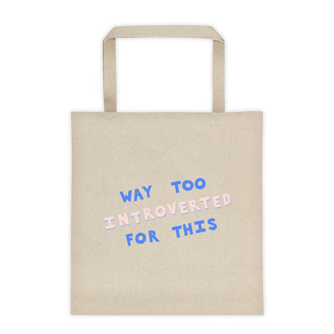 large introvert canvas tote bag square bottom by fun cult