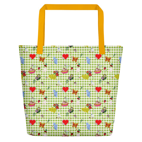 Favorites Print (with gingham) Beach Bag
