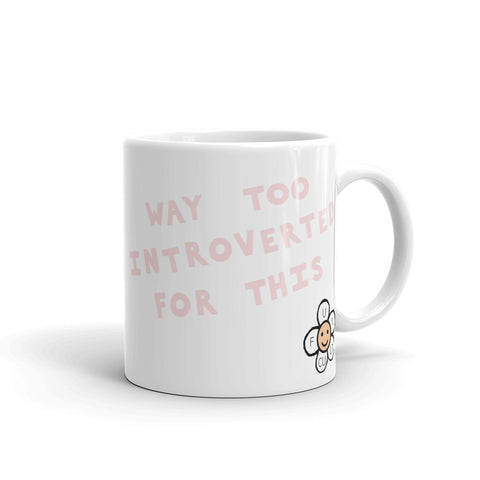introvert funny coffee cup mug millennial pink and white by fun cult