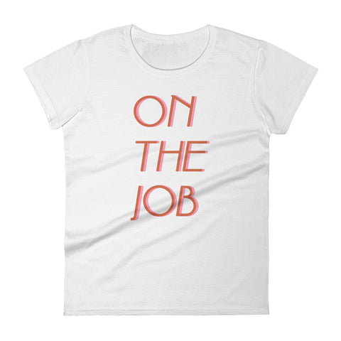 On The Job white babydoll tshirt by FUN CULT