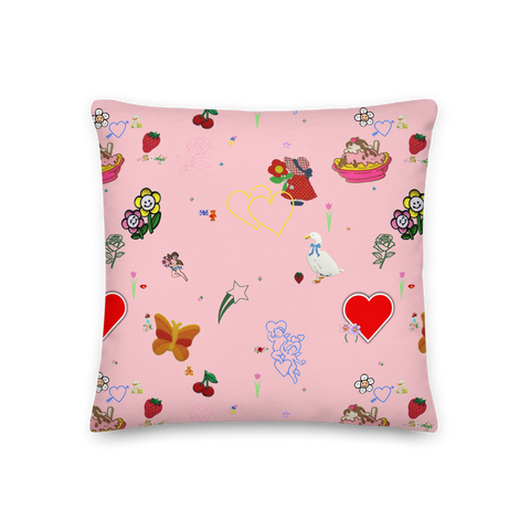 Favorites Print (pink) 18x18 Throw Pillow