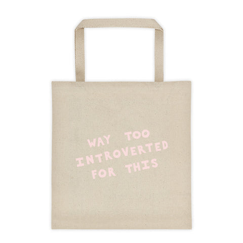 funny introvert tote bag light pink text by fun cult