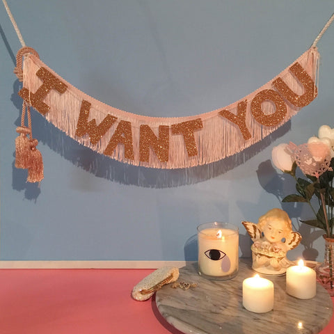 I Want You Glittering Fringe Banner by FUN CULT