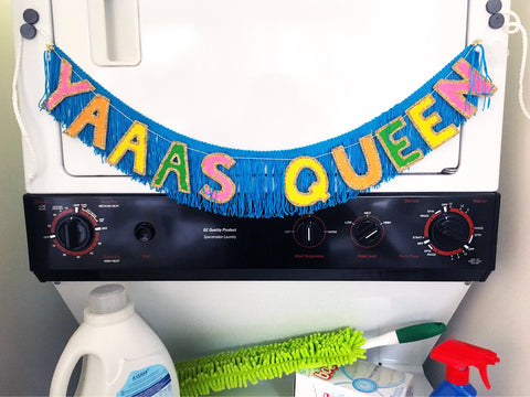YAAAS QUEEN multi-color Glittering Fringe Banner by FUN CULT broad city banner