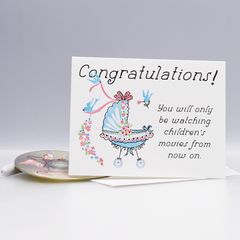 Only Children's Movies New Baby Congratulations Card - WHOLESALE 6-PACK