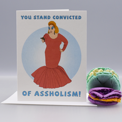 "Convicted of Assholism ""Pink Flamingos"" Greeting  Card - WHOLESALE 6-PACK"
