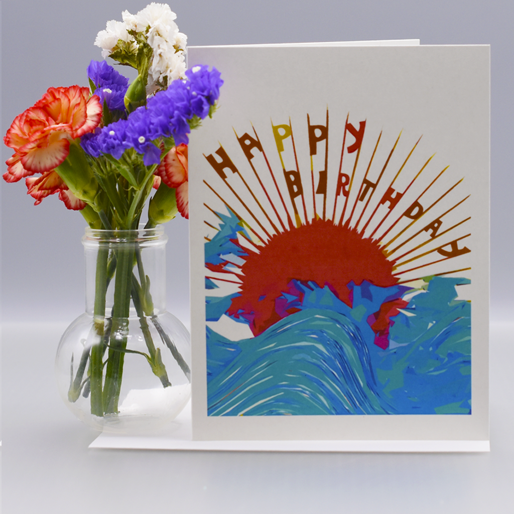 Japanese Sunset Birthday Card - WHOLESALE 6-PACK