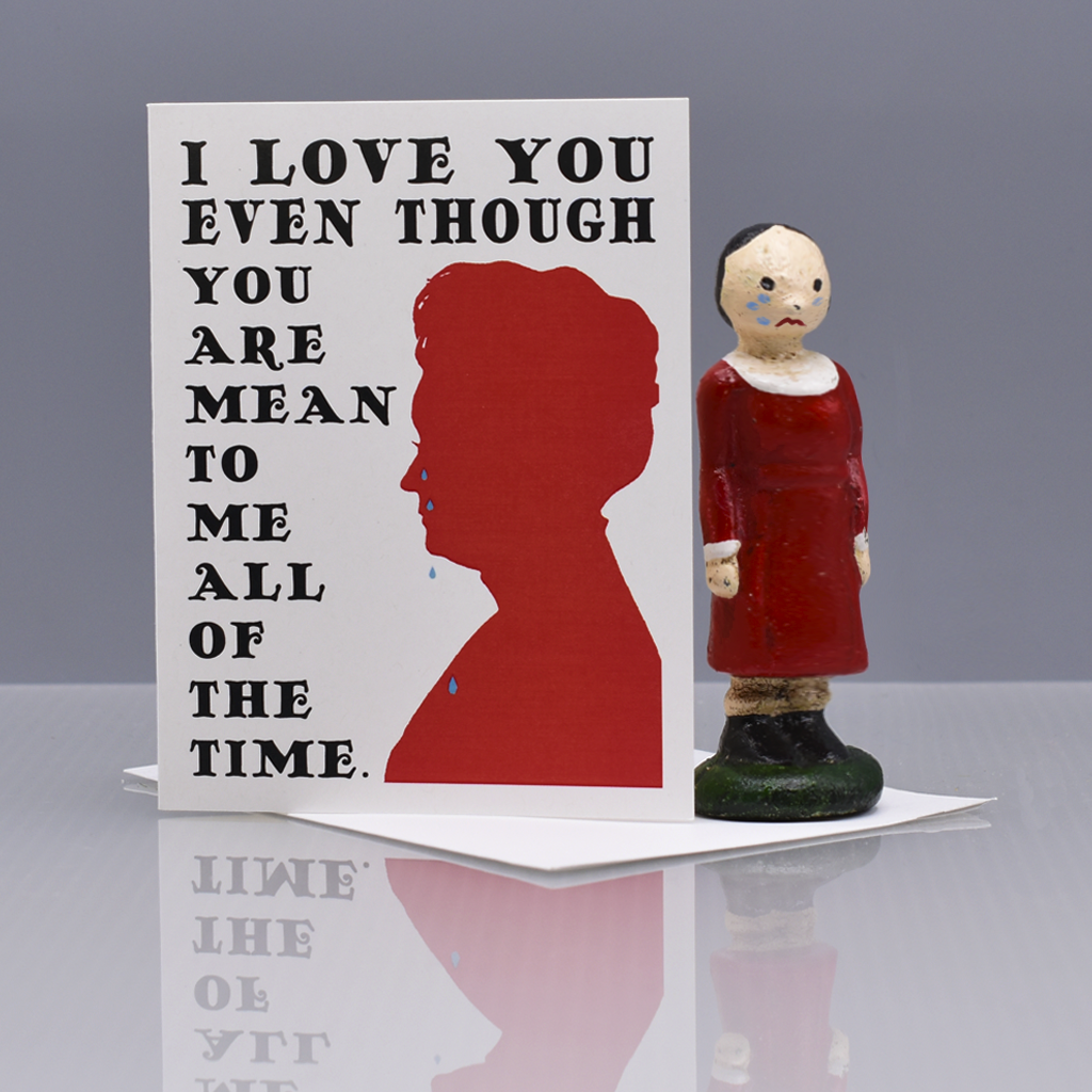 Mean to Me (Crying Woman) Valentine Love Card - WHOLESALE 6-PACK