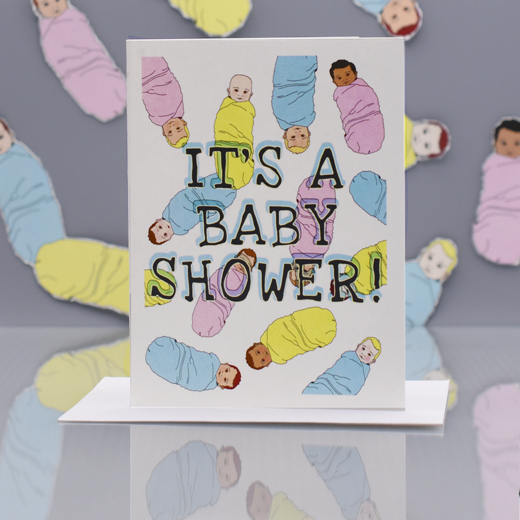 Raining Babies Baby Shower Card - WHOLESALE 6-PACK