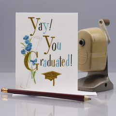 Yay! Retro Graduation Congratulations Card - WHOLESALE 6-PACK