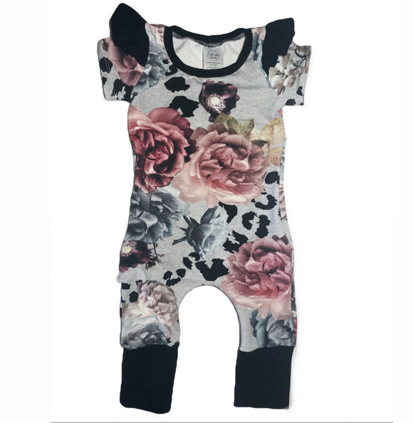 Zipper Floral and Fauna Short Sleeve Grow Romper with Flutters
