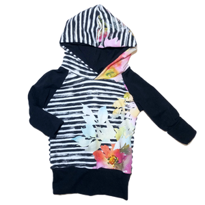 Black & White Striped Floral Grow With Me Hoodie
