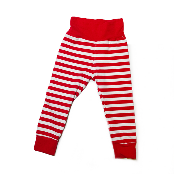 Red And White Cuffed Leggings