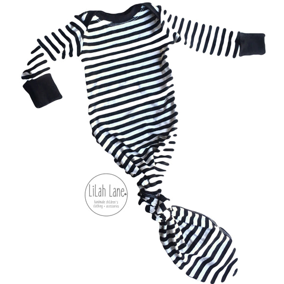 Striped Newborn Knotted Gown and Hat Set