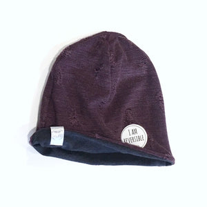 Wine Coloured Distressed Knit Reversible Beanie