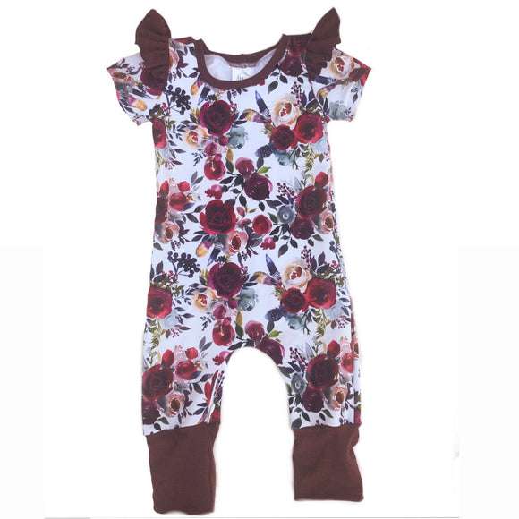 Zipper Winter Floral Short Sleeve Grow Romper with Flutters
