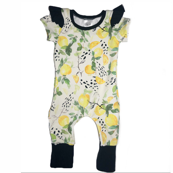 Zipper Lemon Short Sleeve Grow Romper with Flutters