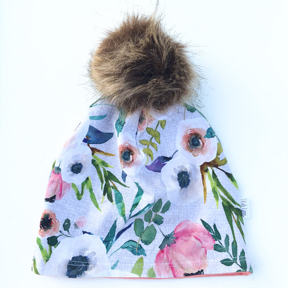 Hatched Floral Pom Beanie Hat