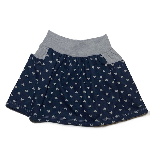 Navy & Grey Hearts Pocket Skirt