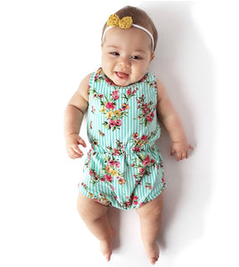 Floral & Mint Stripe Summer Romper