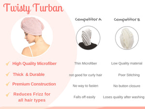 Microfiber Quick Drying Hair Towel Turban, Hair accessories - Goddess Body Co.