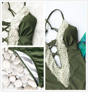 Lace V-Neck, Swimwear - Goddess Body Co.