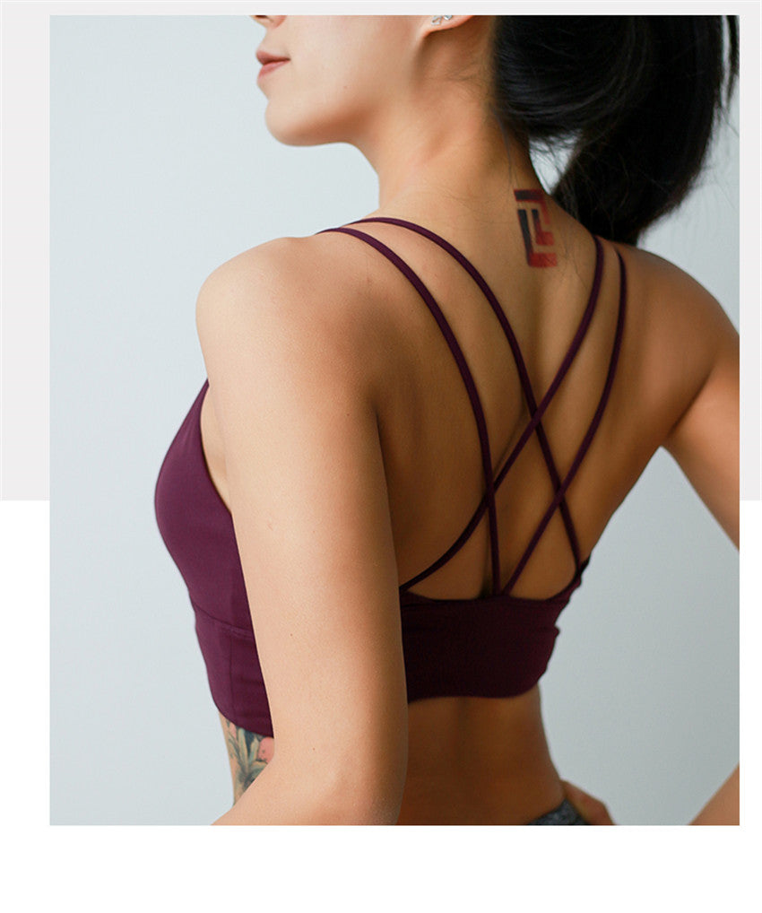 Annalisa In Cranberry | Strappy Sports Bra, activewear - Goddess Body Co.