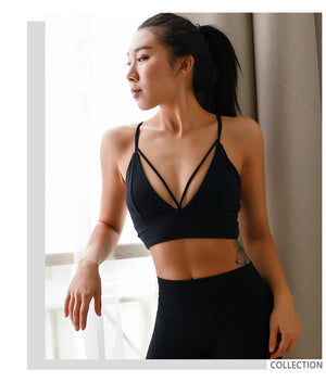 Annalisa In Black | Strappy Sports Bra, activewear - Goddess Body Co.