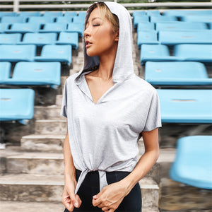 Josphine Hoodie | Tie Workout Shirt,  - Goddess Body Co.