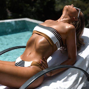 Stripe De Femme Bikini, Swimwear - Goddess Body Co.