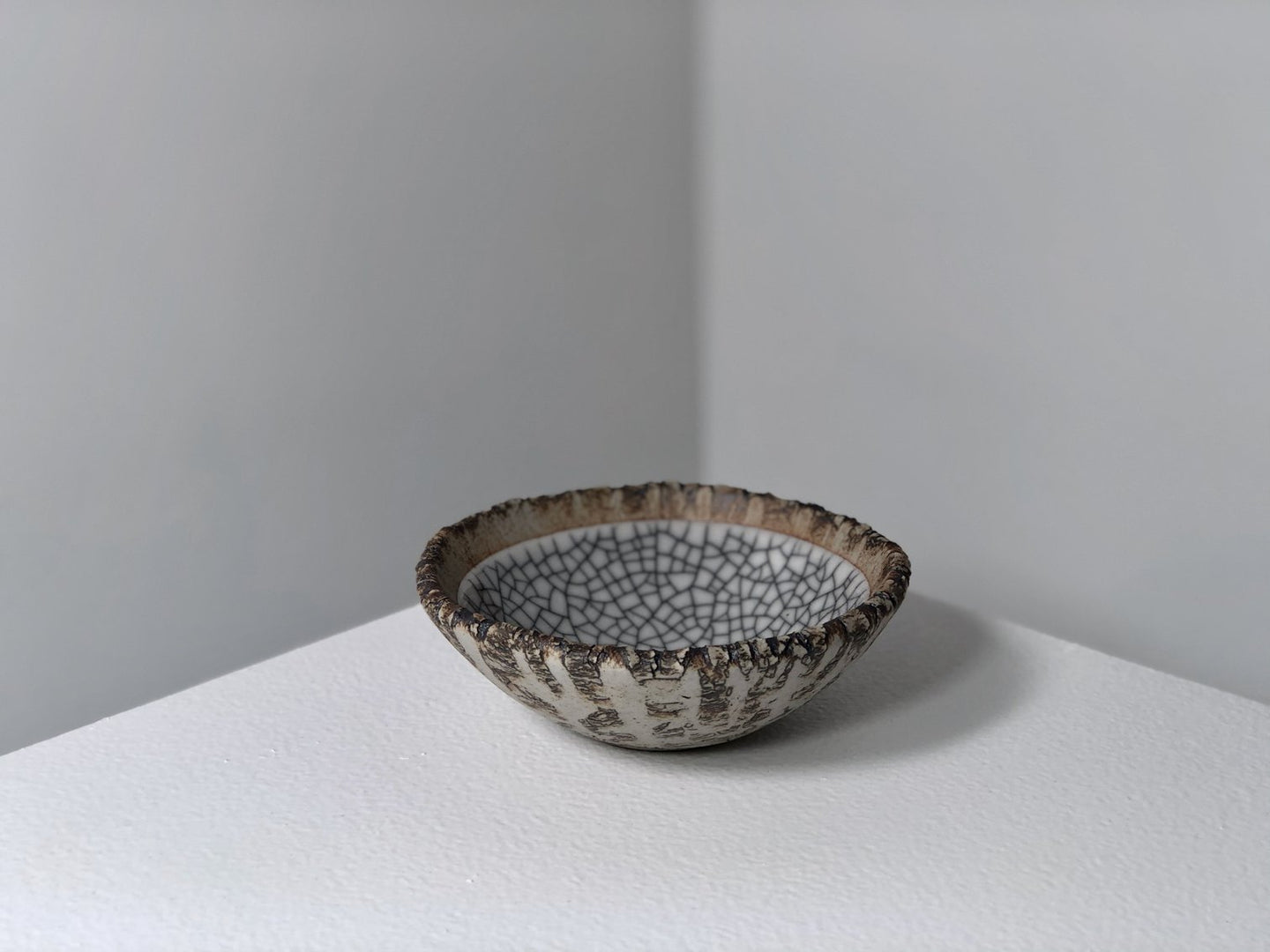 Crickhollow by Rynne Tanton small crackle bowl in monochrome