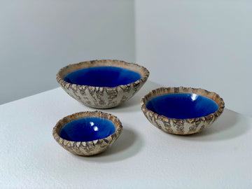 Crickhollow Pottery : Crackle Bowls - Blue