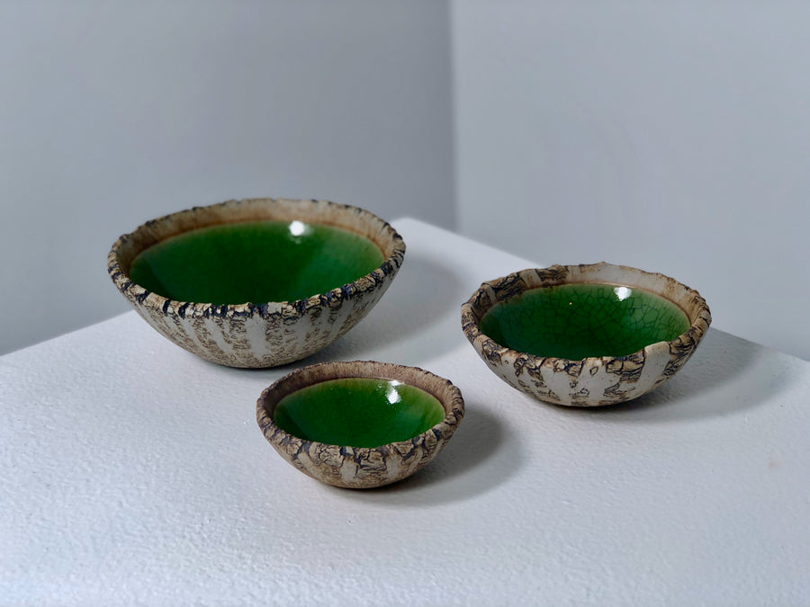 Crickhollow Pottery : Crackle Bowls - Green