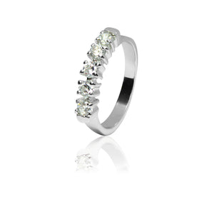 Band ring with diamonds.
