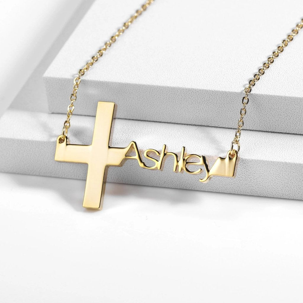 Encoreusa Custom text Gold On the Cross Necklace